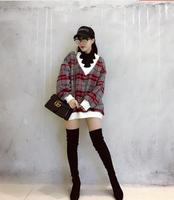 Korean version of the loose sets of high-collar long plaid Sweatshirts women fall and winter tide