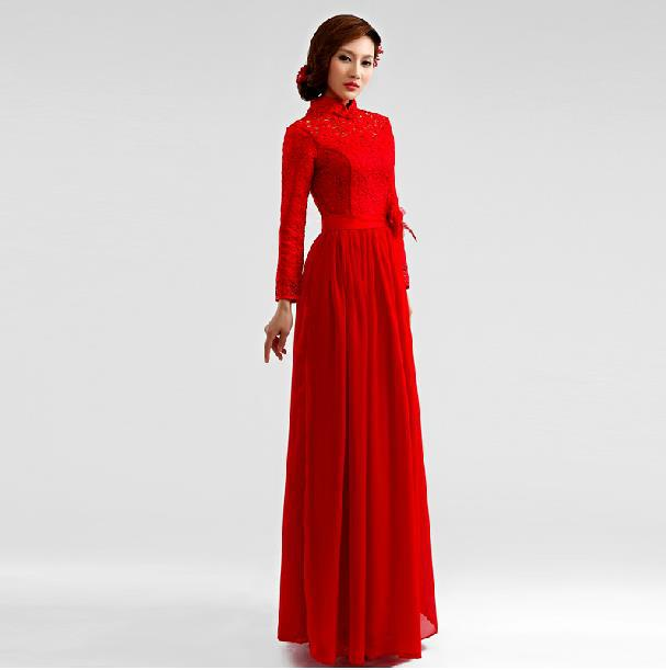 Fashionable Winter Dress Long Sleeve Lace Long Evening Dress 2014