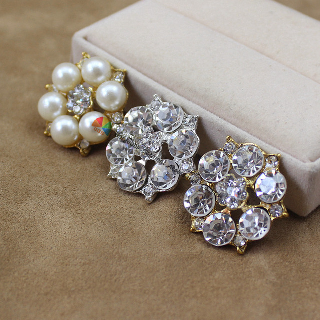 10PCS 25mm alloy flower crystal centerpieces pearl rhinestone button