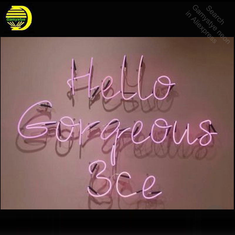 Hello Gorgeous Neon Sign neon bulb Sign Glass Tube neon light Recreation Beer Iconic vintage Sign Advertise personalized Lamps
