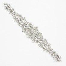 1 Stück 30*6 cm Blume Silber Strassapplikationen Trim Für Hochzeit Kleider Sewing DIY Hochwertigen