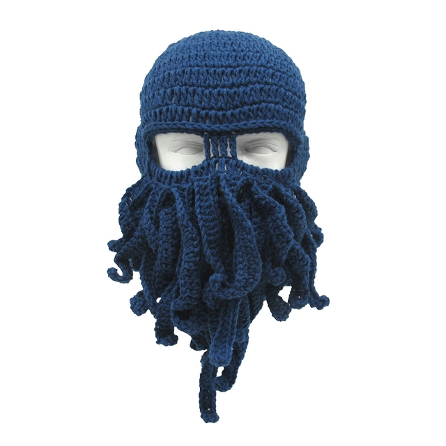 0d3909b432c78 Mr.Kooky Handmade Funny Tentacle Octopus Hat Crochet Cthulhu Beard Beanie  Men s Women s Knit Wind