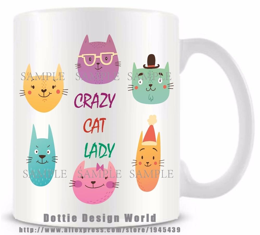 11oz Ceramic Coffee Tea Mug Glass Cup Crazy Cat Lady