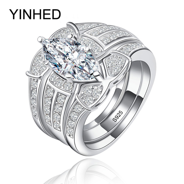 Yinhed Luxury 3 Rings Set 925 Sterling Silver Wedding For Women Jewelry Aaa Cubic Zircon