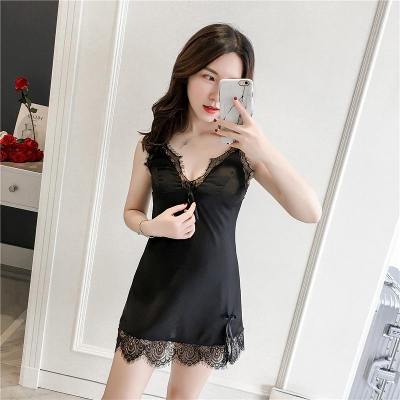 Satin Sleepwear Female Sexy Backless   Nightgowns   &   Sleepshirt   V-Neck Sleep Lounge Silk Night Dress Sexy Nightwear Lingerie