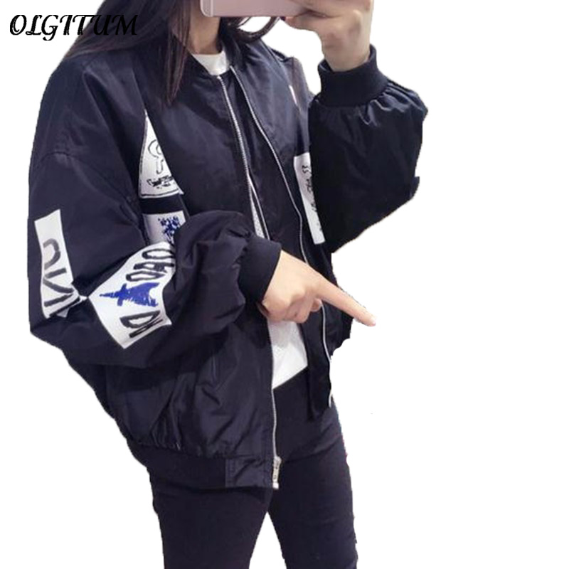 2018 Spring and Autumn Pink Bomber Jacket Women BF style Embroidery Letters Casual Loose army Jackets