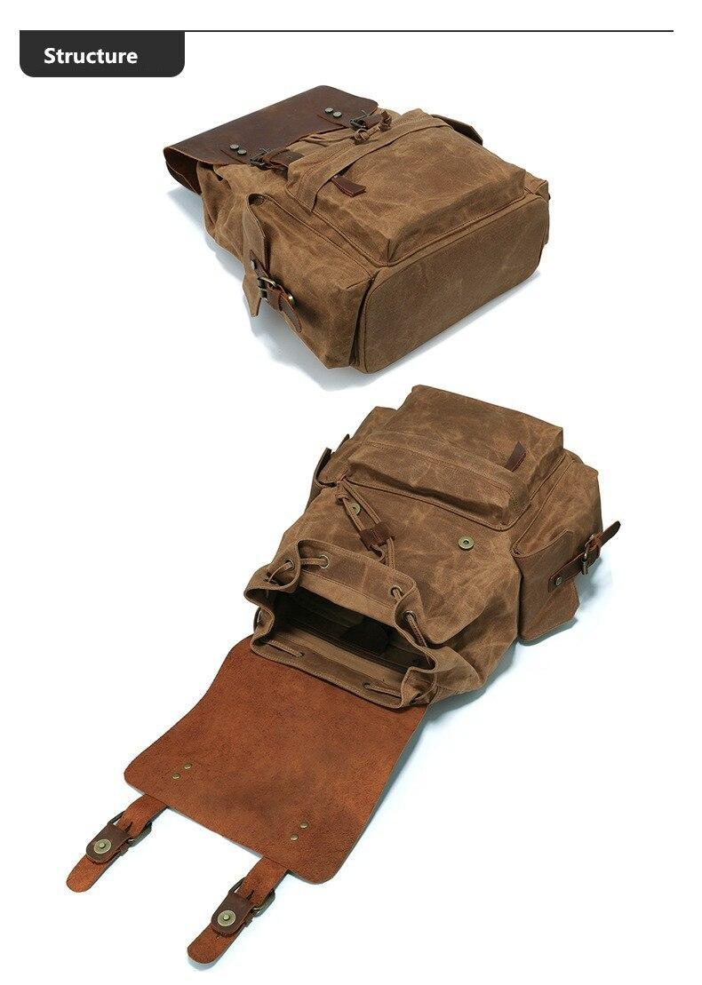 Latvia vintage Waxed Canvas Backpack