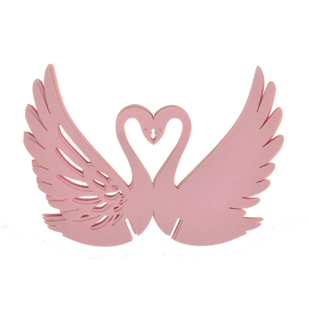 120pcs DIY Place Card Pink Laser Cut Swan Wedding Invitation Wine ...