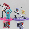 Team Rocket Jesse+Wobbuffet/James+ Meowth Aciton Figures Puppets Model Vinyl Doll With Box Kids Boys Toys Gifts Decoration