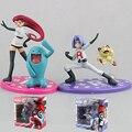 Team Rocket Jesse+Wobbuffet/James+ Meowth Aciton Figures Puppets Model Vinyl Doll With Box Kids Boys Toys Gifts Decoration