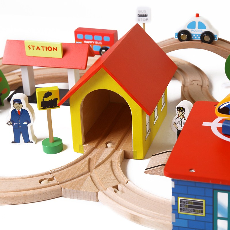 69 Children Wooden Train and Railway Track Model Building Kit Toy Traffic Wooden Building Blocks with Fishing Kids Birthday Gift