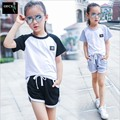 2016 New Girls Summer Casual Clothes Set Children Short Sleeve Cartoon T-shirt + Short Pants Suits Girl Clothing Sets for Kids