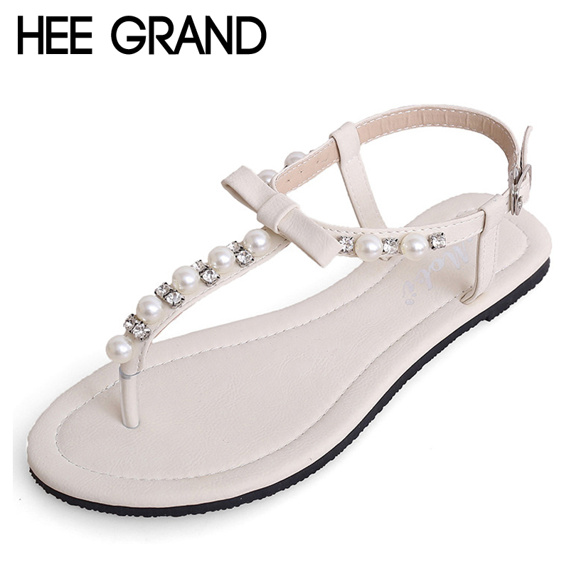 HEE GRAND Bowtie Faux Pearl Women Sandals Summer Shoes Woman 2018 Wedding Party Flats Creepers Women Sandals XWZ4643 hee grand sweet faux fur slippers fashion flats shoes woman slip on bowtie winter warm women shoes 4 colors size 36 41 xwt966