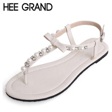HEE GRAND Bowtie Faux Pearl Women Sandals Summer Shoes Woman 2018 Wedding Party Flats Creepers Women Sandals XWZ4643(China)