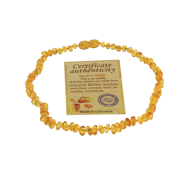 2017 Certified Authentic Genuine Baltic Amber Baby Teething Necklace Mellite With Cognac for Infant 33cm Baby Chew Necklace