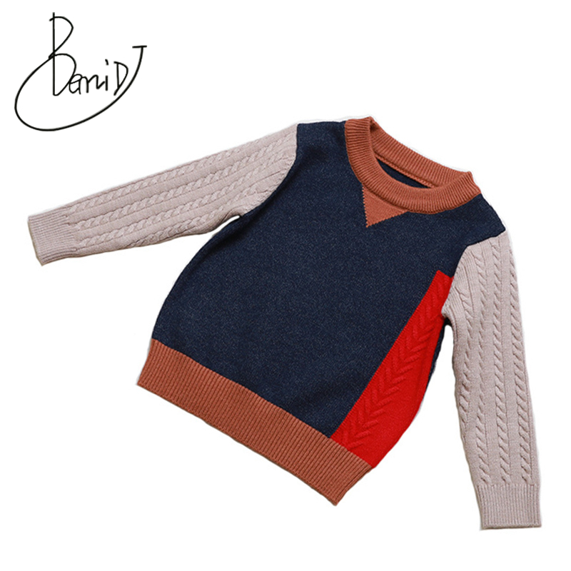 2018 New Knitted Toddler Baby Boys Sweater Casual Spring Patchwork Cotton Boys Sweaters O-Neck Pullovers Children clothing beige round neck love patchwork sweater