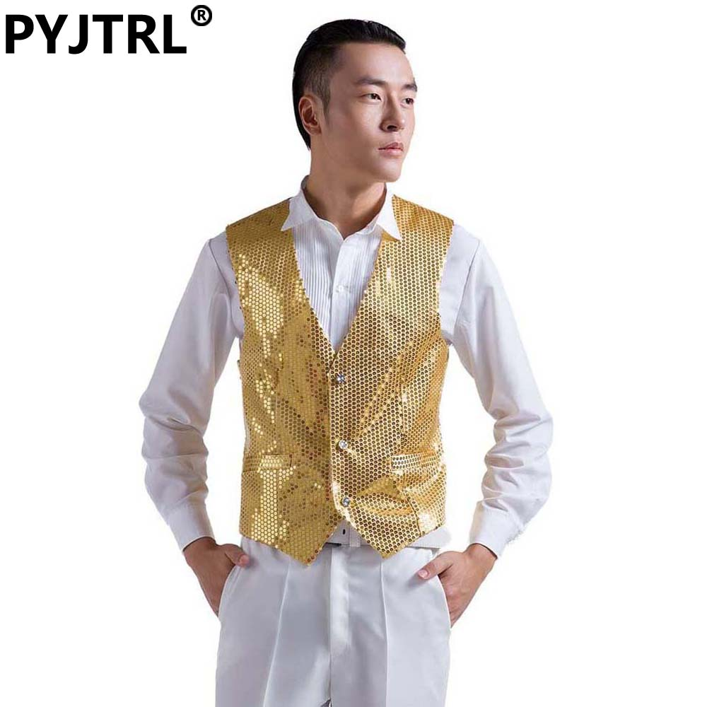 Suit Vest Waistcoat Sequins Classic Wedding Silver Gold Blue Black Yellow Mens Gilet