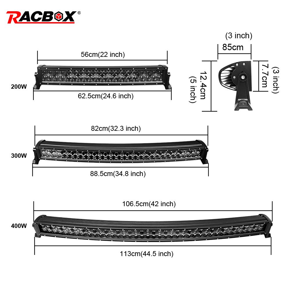 5D Lamp Worklight Fog Headlight LED Bar 12V 22'' 32'' 42'' 200 300 400W Curved Offroad Running Bars For Car ATV SUV MPV GAZ 24V