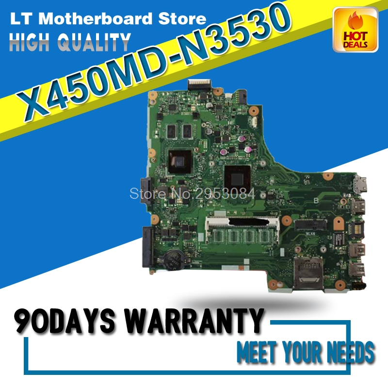 For Asus X450MD X450M X452M N3530U REV2.0 Laptop Motherboard System Board Main Board Mainboard Card Logic Board Tested Well S-4 laptop motherboard for asus b400a i5 system board main board mainboard card logic board tested well