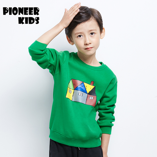 Pioneer Kids 2017 4-16Y Sweatshirts Boys thick Clothes Autumn Winter Hoodies Boys T-shirt Sweatshirts For Kids 6T911