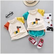 купить 2019 Summer Baby Girls  Clothing Sets Toddler Infant Clothes Suits Cartoon Horse  T Shirt Shorts Kids Children Casual Suit по цене 545.13 рублей