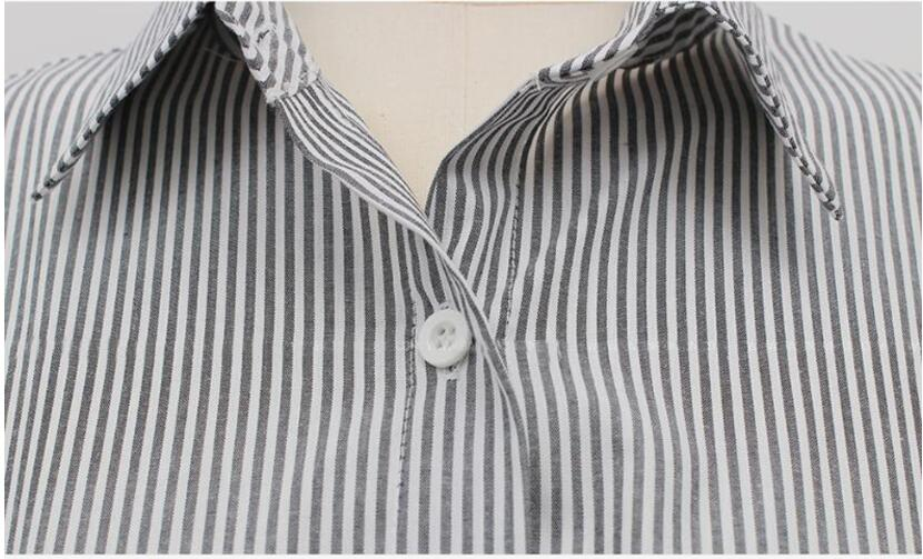 De White Mujeres Blusa Blusas 2017 Larga Hasta striped Tops Blanca Casual Streetwear Camisa Encaje Arco Gkfnmt Elegante Manga Verano Rayas SxUIw0Tvnq