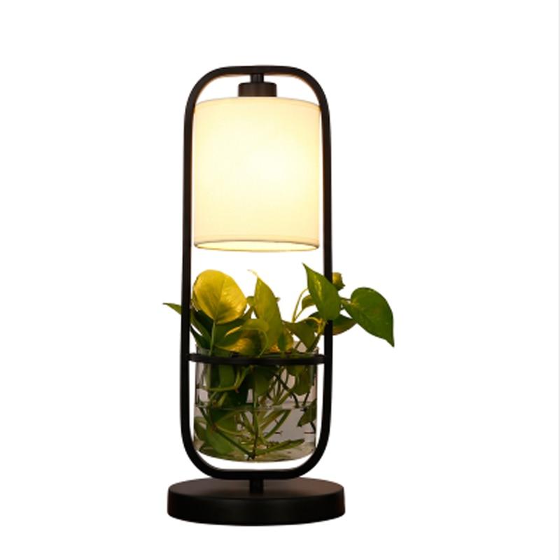 ZYY Fashion Creative Loft Warm Iron Table Lamps Retro Plant Vase Lighting For Bedroom Foyer Hotel Home With LED Bulb