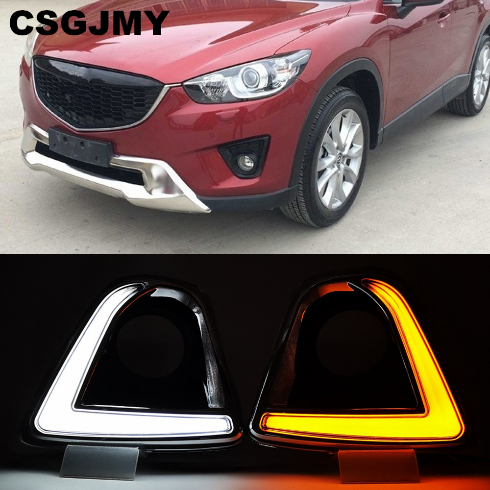 CSGJMY  Led Car For Mazda Cx-5 Cx5 Cx 5 2012 2013 2014 2015 2016 Drl Daytime Running Lights Fog Lamp Hole With Turn Signal Lamp