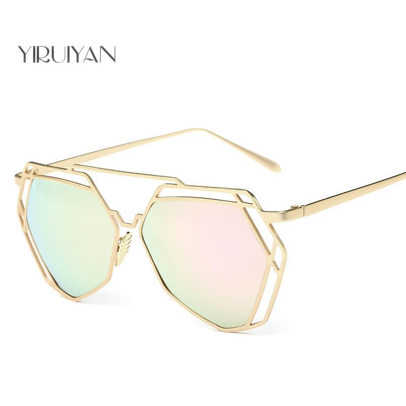 fb0d915d0adc2 5 pieces wholesale Sunglasses Women Mirror Glasses New Fashion Ladies  Sunglasses Luxury Geometry Twin Beams Alloys Frame-in Sunglasses from  Apparel ...