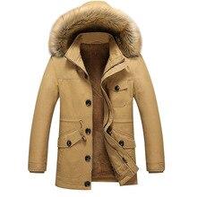 Retro Winter Men Down Coat Fur Hooded 2017 Long Overcoat Male Jacket Casual Outwear Parka Japan Outdoors Anorak UK 5XL Outerwear