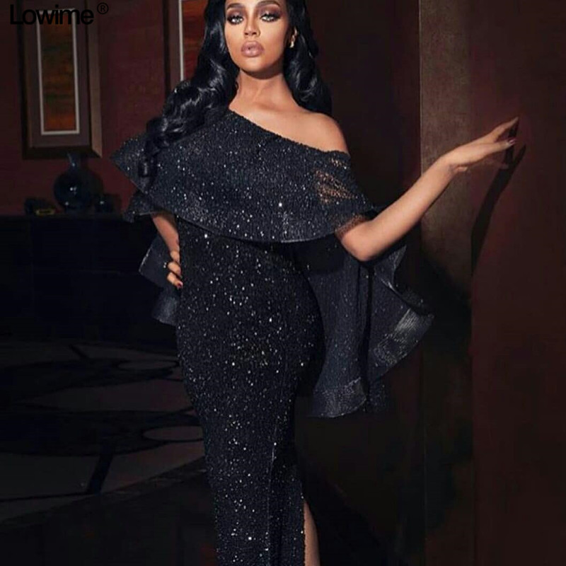 Dubai Style Sparkly Long Mermaid Prom Dresses Off Shoulder Long Sleeve Split Behind Sexy Evening Ladies Prom Party Gowns Custom in Prom Dresses from Weddings Events