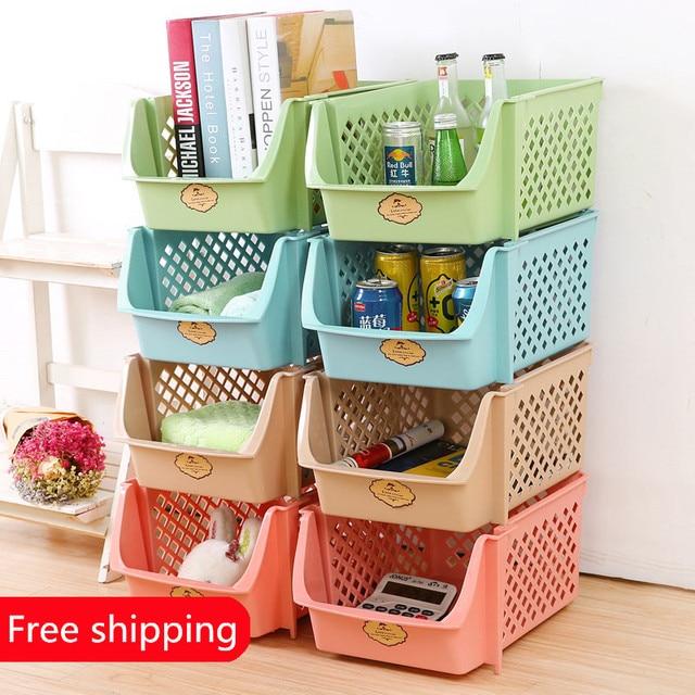 Free Shipping Fruit Storage Basket, Plastic Large Stacking Basket, Storage  Rack, Thickening Toy