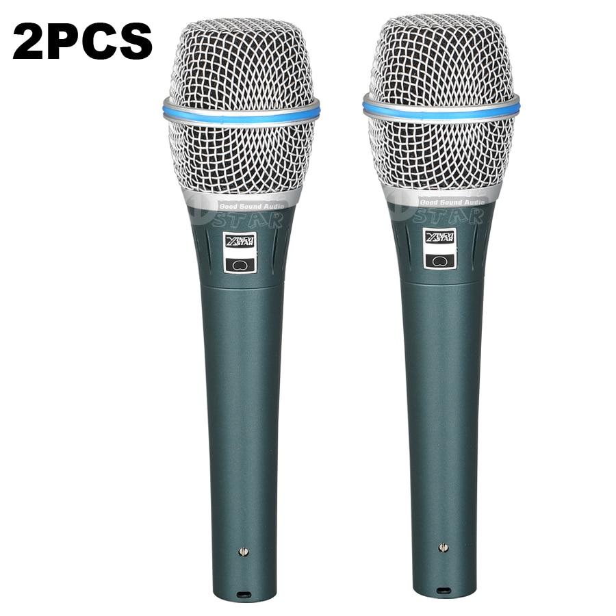 2Pcs BETA87C Handheld Dynamic Mic Wired Microphone Professional Singing KTV Karaoke System Audio Mixer DJ BETA
