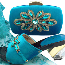 2018 newest fashion italian lady shoes and bag turquoise blue with bright  stones slipper shoes and 57a92d4afd4b
