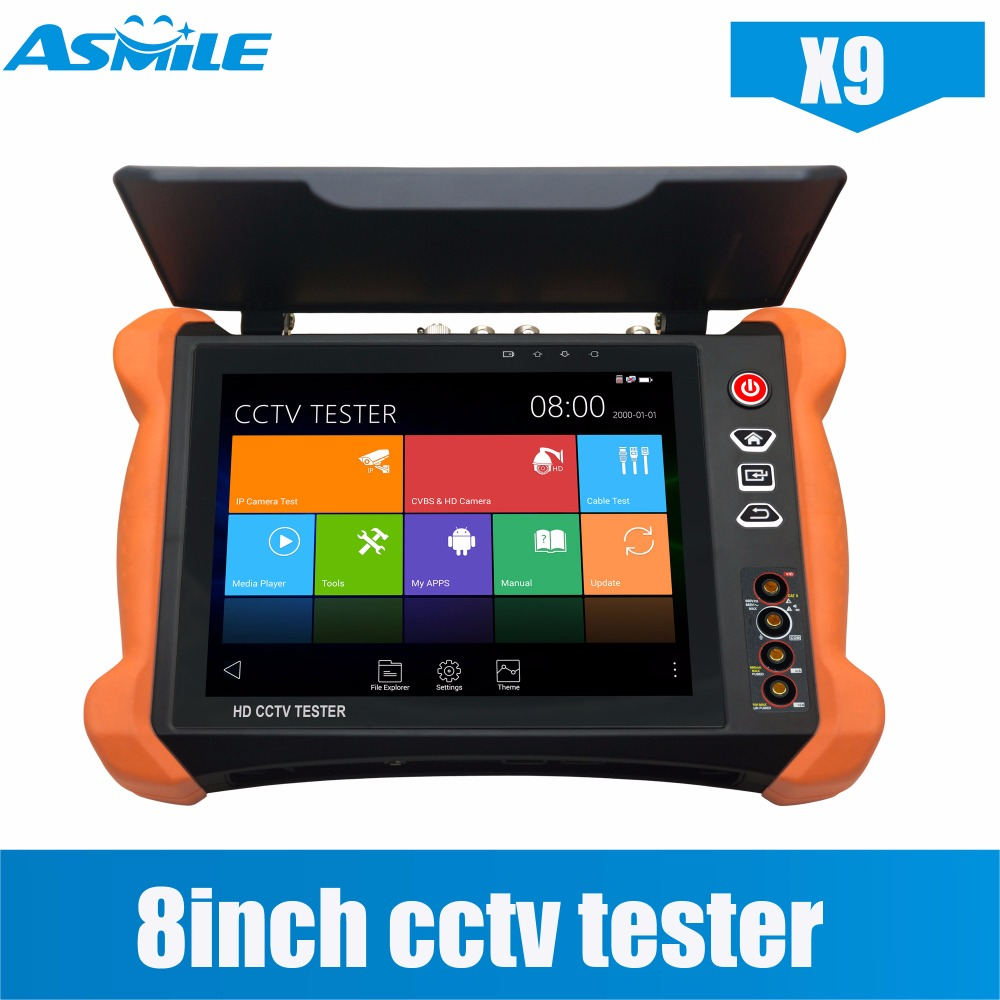 Newest 8 Inch X9 Cctv Tester Retina Touch Screen, 2048*1536 Resolution 4K H.264 H.265 Multi Function CCTV Tester With Sunshade