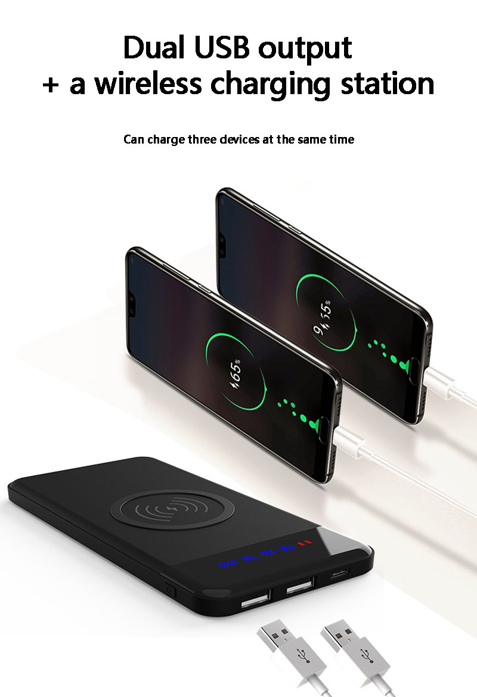 2019 8000 mah Accumulatori e caricabatterie di riserva Portatile Ultra-sottile Wireless di ricarica con DISPLAY LCD batteria caricabatteria per iphonexs max xiaomi mi8