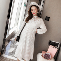 9310# Hollow Out Lace Patchwork Chiffon Maternity Party Dress Spring Summer Korean Fashion Clothes for Pregnant Women Pregnancy