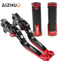 Motorcycle Accessories Clutch Brake Lever Extendable Adjustable+Handle Grips For Honda CBR954RR 954RR CBR 954 RR 2002 2003