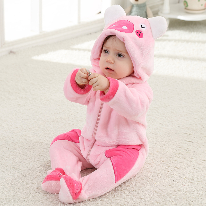 New Spring Cute Piggy Baby Girl Zipper Romper Pink Long Sleeve Hooded Baby  Onesie Jumpsuit Toddler Clothes for 0-2 Y Infants 225719f2fd5d