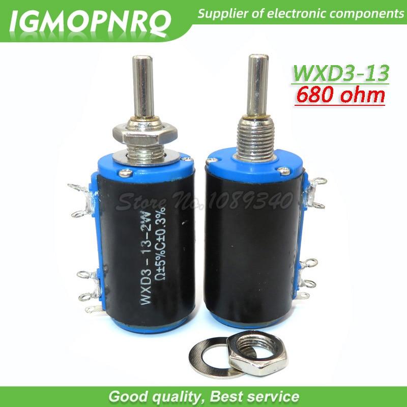 2 pces WXD3-13-2W 680 ohm WXD3-13 2 w 680r otary lado giratório multiturn wirewound potenciômetro igmopnrq