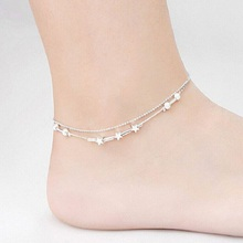 New fashion sexy barefoot beach lady foot chain simple five-pointed star beads anklets female favorite jewelry