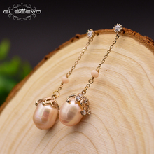 GLSEEVO Natural Fresh Water Baroque Yellow Pearl Long Water Drop Earrings For Women Bead Earrings Handmade Fine Jewelry GE0319B [nymph] pearl drop earrings fine jewelry long baroque pearl earrings for women 2018 fashion birthday party gift big bulb e327