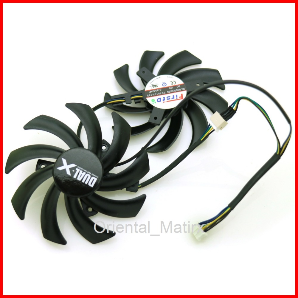 2pcs/lot FD7010H12S 12V 0.35A 4Pin 85mm VGA Fan For Sapphire HD 7790 7850 7870 7950 Graphics Video Card Cooling Fan 4pin mgt8012yr w20 graphics card fan vga cooler for xfx gts250 gs 250x ydf5 gts260 video card cooling