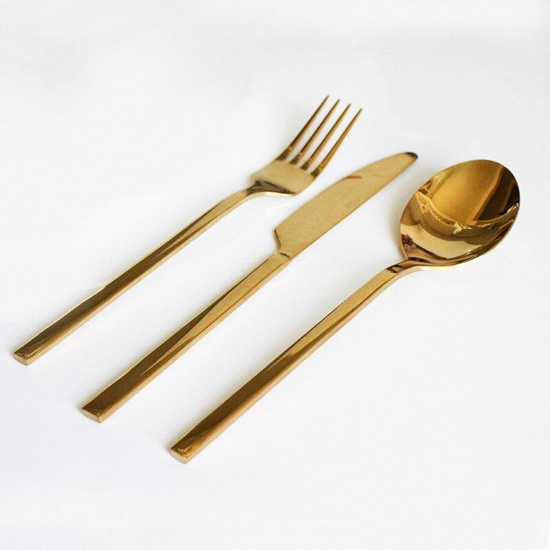 3Pcs Rose Gold Dinnerware Tea Forks/Fruit Knives/Scoops Dinnerware Stainless Steel Cutlery Set Dinner Set For Wedding Gift 2018 ...