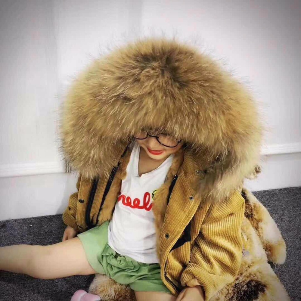 UNINICE Children's Natural Fur Jackets Coat Girls Boys Winter Warm Raccoon Fur collar Parkas Kids Real Rabbit Liner Outerwear 2017 winter new clothes to overcome the coat of women in the long reed rabbit hair fur fur coat fox raccoon fur collar