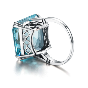Image 4 - Szjinao Aquamarine Ring Silver 925 For Women Real 925 Sterling Silver Vintage Rings Big Gem Blue Stone Fine Jewellery Christmas