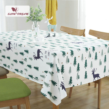 SlowDream Nordic Style Christmas Deer And Tree Table Cloth Home Office Travel Fashion Cover 5 Sizes Hot Toalha De Mesa