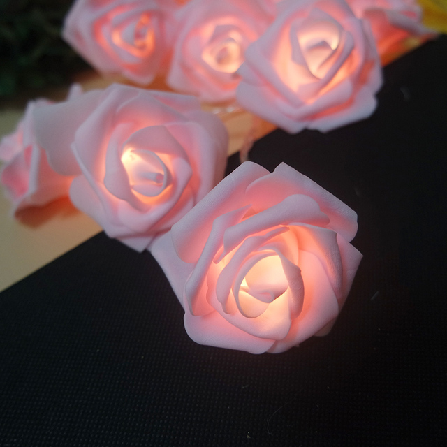 Romantic flower rose garland with led lights powered by battery, wedding decoration/new year decorative,Kids room fairy light