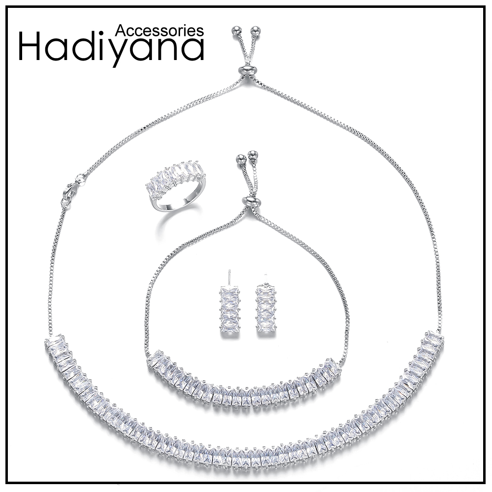 HADIYANA New AAA Cubic Zirconia Wedding Bridal Choker Necklace 4pcs Set Dazzling And Charming T Zr Jewelry Women Sets Prom CN446