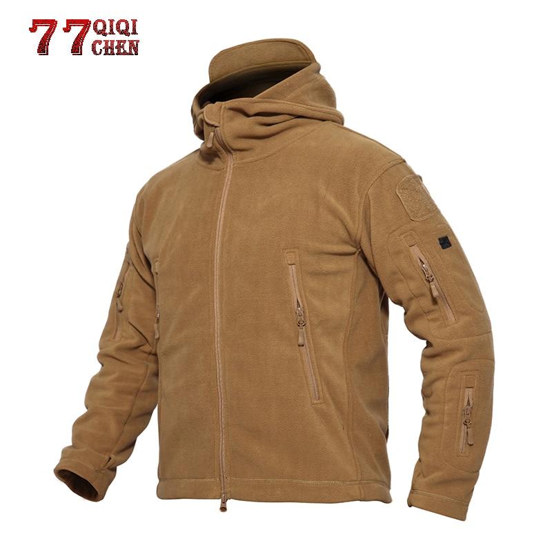 85be58d2161 QIQICHEN зима-осень теплая флисовая куртка в стиле милитари Для мужчин  повседневные штаны с карманами